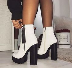 56 Ideas Boots Femme Talon Aiguille For 2019 - FootWear Dream Shoes, Crazy Shoes, Me Too Shoes, Cute Shoes Heels, Aesthetic Shoes, Hype Shoes, Beautiful Shoes, Shoe Boots, Platform Ankle Boots
