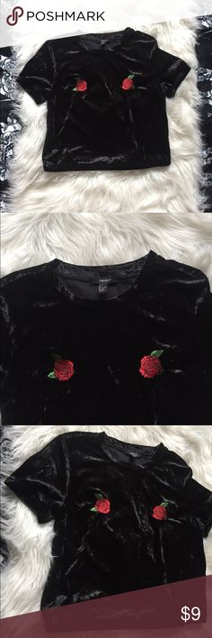 Crushed Velvet Top A crushed velvet top featuring front rose appliques, a round neckline, short sleeves, and a semi-cropped silhouette.   96% polyester, 4% spandex 	B: 38-39	   W:30-31	H: 42-44 OBO Forever 21 Tops Crop Tops