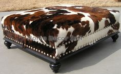 Brown Tricolor Custom Ottoman With Silver Nailhead and Dark Espresso Wood Trim