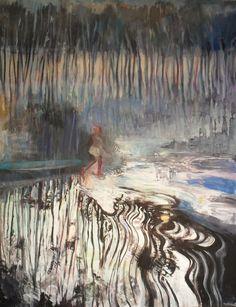 'La Funambule' (c.2014) by French artist Marie-Elisabeth Merlin. Oil, 57.1 x 44.9 in. via Saatchi