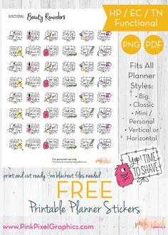 Free Beauty Reminder Planner Stickers