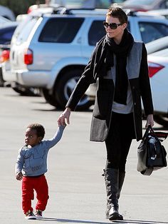 Charlize Theron and her 10-month-old son Jackson. Love her style!