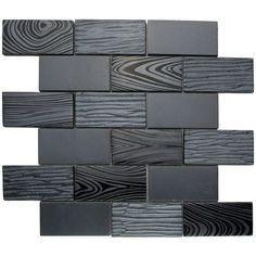 Shop for TileGen. Wood Look Paint Effect x Glass Mosaic Tile in Black Wall Tile Get free delivery On EVERYTHING* Overstock - Your Online Home Improvement Shop! Black Backsplash, Mosaic Glass, Black Wall Tiles, Black Subway Tiles, Black Tile Bathrooms, Wall Tiles, Black Walls, Bathroom Wall Tile, Glass Mosaic Tiles