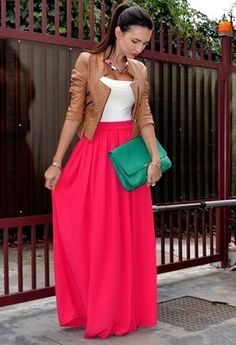 Pair neutrals with brights maxi dresses, fashion, color combos, outfit, long skirts, clutch, street styles, leather jackets, maxi skirts
