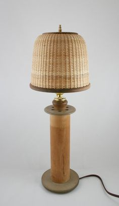 Antique Spool Lamp with Handmade Nantucket Basket Shade, Accent Light, Vanity Dresser Decor Vintage