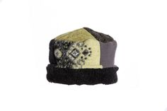 Lime, Gray & Black Rolled Pillbox Hat