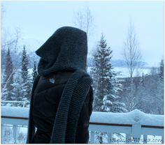 Knit Hooded Scarf - Idlewild Alaska all garter stitch