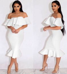2017 new fashion bandage dress pink off the shoulder midi dress sexy strapless ruffles dresses party club bodycon dress