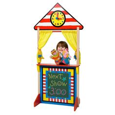 Alex Toys Floor Standing Puppet Theater and Clock, Multicolor