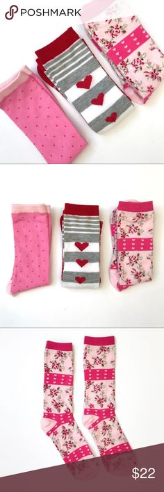 Red/Pink Sock Bundle NWOT Red/pink sock bundle. Two pairs of crew socks and one pair of knee-high socks. Never worn or washed and in perfect condition. This is a firm price. Bundle for more savings! Accessories Hosiery & Socks