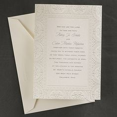 This ecru shimmer paper features a classic, deco style flourish around the border.