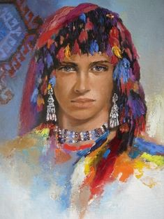 (Turkey) Anatolia headband by Remzi Iren ). Watercolor Portrait Painting, Arabian Women, Gypsy Women, Religion, Painter Artist, T Art, Face Art, Art Faces, Historical Art