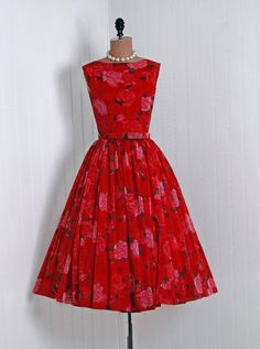 1950's Vintage Red-Roses Watercolor Floral-Garden Print Chiffon-Couture Sleeveless Bow-Belt Rockabilly Full Circle-Skirt Swing Party Dress