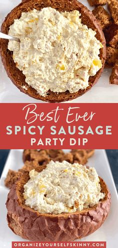 Make-Ahead Spicy Sausage Dip - Organize Yourself Skinny Sausage Cream Cheese Dip, Sausage Dip, Spicy Sausage, Sausage Party, Chicken Sausage, Holiday Party Appetizers, Party Dips, Holiday Foods, Appetizer Dips