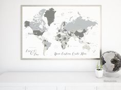 Custom quote color and size printable world map with countries us custom quote world map with countries us states canadian provinces oceans labeled color combo concrete hues gumiabroncs Images