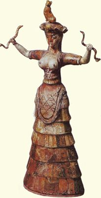 Snake Goddess  Faience statuette from Knossos  c. 16OObc  Archaeological Museum, Heraklion,Crete  The goddess carries a  panther or a leopard on  her headdress