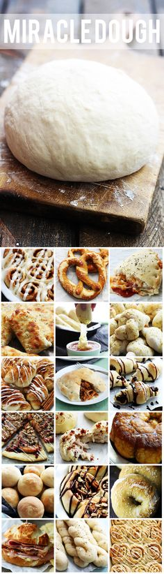 Miracle Dough – just 5 ingredients and only 30 minutes prep. Use it for cinnamon… Miracle Dough – just 5 ingredients and only 30 minutes prep. Use it for cinnamon rolls, pizza, soft pretzels, and so much more! One simple dough: endless possibilities! Think Food, I Love Food, Good Food, Yummy Food, Cuisine Diverse, Soft Pretzels, Bread And Pastries, Scones, Food To Make