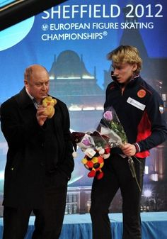 Artur Gachinsky 2012 Europeans...MY champion. Mishin is impressed with toy