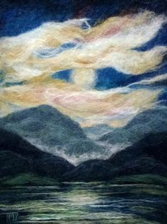 Felted Artwork-Original felted landscapes by Tracey McCracken Palmer. Wet felting and needle felting techniques are used to create beautiful works of art. Landscape Quilts, Landscape Art, Wet Felting, Needle Felting, Art Quilling, Fuzzy Felt, Quilling Christmas, Felt Pictures, Textile Fiber Art