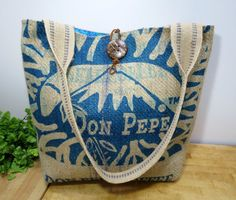 Blue Don Pepe Burlap Tote Bag Jute Straps Mexico by BackAlleyChic