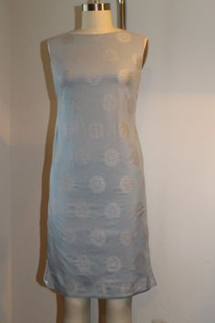 Vintage Silver Brocade Shift Dress with a Sabrina Neckline - 1960s - Asian Influence