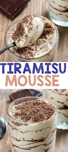 Easy Tiramisu Mousse is the best part of a tiramisu recipe: the filling! This creamy mousse is full of cocoa and coffee and tastes JUST like your favorite tiramisu recipe. Plus it's easy and no bake! - Easy Tiramisu Mousse - Crazy for Crust Mousse Dessert, Coffee Dessert, Easy Desserts, Delicious Desserts, Dessert Recipes, French Desserts, Pudding Recipes, Easy Mousse Recipes, Easy Tiramisu Recipe