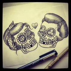 love skull tattoo... Chest piece with curly mustache  OMG - I want this as a…