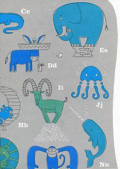 Modern Nursery Art Animal Alphabet Print in Blue for a by gumo, $25.00