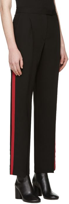 Alexander McQueen: Black & Red Band Trousers | SSENSE