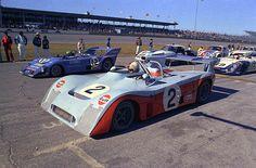 (2) Mike Hailwood / John Watson - Mirage M6 Ford - Gulf Racing - (12) Reine Wisell / Jean-Louis Lafosse / Hughes de Fierlant - Lola T282 Ford - Scuderia Filipinetti - (19) Rudy Bartling / Harry Bytzek / Bert Kuehne - Porsche 908/02 Flunder - Harry Bytzek - (11) Tony DeLorenzo / Maurice Carter - Chevrolet Corvette - Troy Promotions Inc. - 24 Hours of Daytona - 1973 World Championship for Makes, round 1