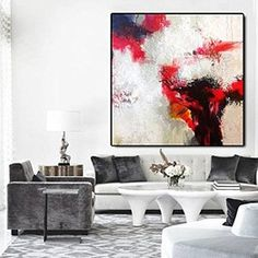Large Original Abstract Painting On Canvas, blue wall decor art handmade Acrylic from Studio Trend Gallery Large Canvas Art, Canvas Wall Art, Wall Art Prints, Red Abstract Art, Abstract Canvas, Abstract Paintings, Black And White Painting, Black And White Abstract, Blue Wall Decor