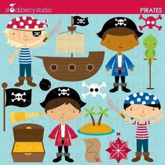 Pirate Personal and Commerical Use Vector Clipart Set - Instant Download - for Lucas' 3rd?