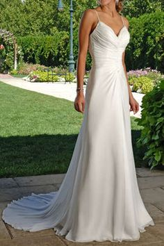 This dress is simple and has a nice lace up back... plus, its only $80. Could be a great outdoor wedding dress with no worries about the dirt or grass.lol