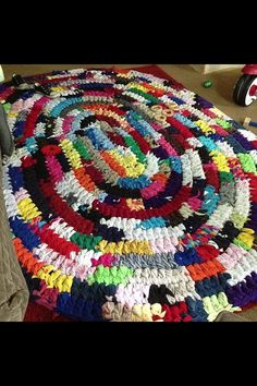 Crocheted t shirt rug
