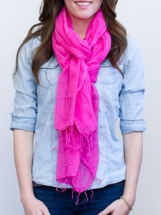 Love this scarf in HOT pink handmade in Ethiopia by Meselu. LiveFashionABLE.com #ONEMoms