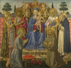 Benozzo Gozzoli : The Virgin and Child Entroned among Angels and Saints (The National Gallery, London)  1421-1497 ベノッツォ・ゴッツォリ