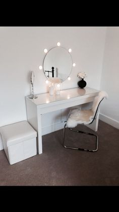 Ikea malm dressing table with round mirror and lights! Ideal for dressing room! : Ikea malm dressing table with round mirror and lights! Ideal for dressing room! Make Up Tisch, Ikea Malm Dressing Table, Dressing Tables, Dressing Rooms, Glam Room, Beauty Room, House Rooms, New Room, Bedroom Decor