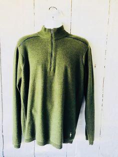 Smartwool 100% Wool Mens Sweater 1/2 Zip Pullover Green Large L    eBay