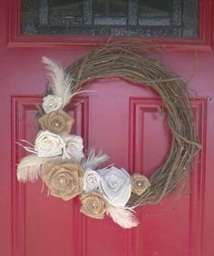 I could learn how to do something like this!!!  Burlap Flower Grapevine Wreath