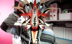 Masque de dragon en paper art design