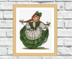 Modern cross stitch pattern Irish Doll. by CrossStitchObsession