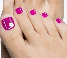 Pink toenail art flower design