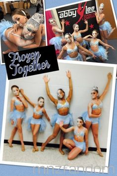 """[S5E4] Maddie Ziegler, Mackenzie Ziegler, Nia Frazier, Kendall Vertes and Kalani Hilliker backstage in full costume and make up for their group dance called """"Frozen Together""""."""