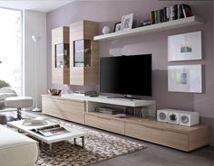 Mueble salón modular en medida de 3.30m en color nórdico combinado con artic. Adaptable a otras y medidas y con posibilidad de otros acabados.