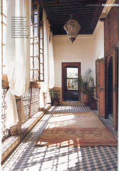 Moroccan verandah via old magazine clipping  Riyad Charai Morocco.