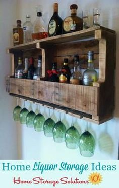 Liquor storage ideas and solutions for your home that you can use for small or large collections, and in multiple rooms including the kitchen or living room {on Home Storage Solutions 101}