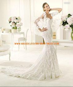 2013 Traumhafte Brautkleider aus Satin und Spitze Meerjungfrau mit Schleppe
