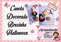 (DIY) Caneta Decorada Bruxinha com Base Abobora (Halloween)
