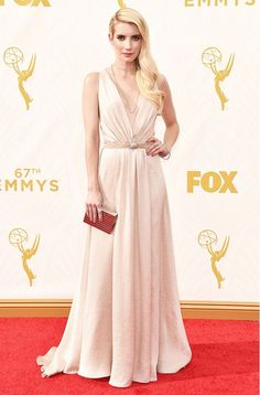 Emma Roberts in Jenny Packham at the 2015 Emmy's