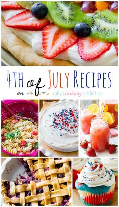 EASY Fourth of July Recipes including the most festive tie-dye cake, blueberry pie, chicken pasta salad, and fruit pizza!